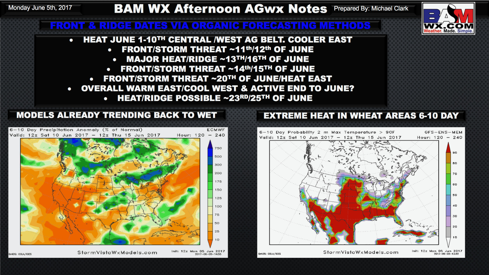 Monday PM #AGwx Report: Latest details on the growing season forecast ahead.