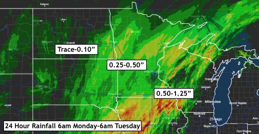 Northern Plains Update: Rain Winding Down Today, Next Rainfall
