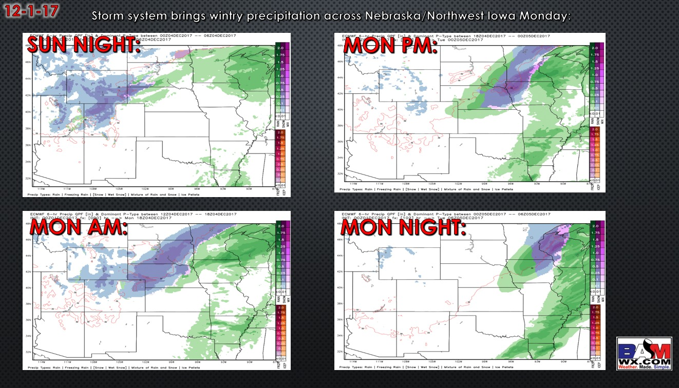 12-1-17 Central Plains Regional Forecast: Mild and dry through much of the weekend – Big changes early next week…snow north.  N.