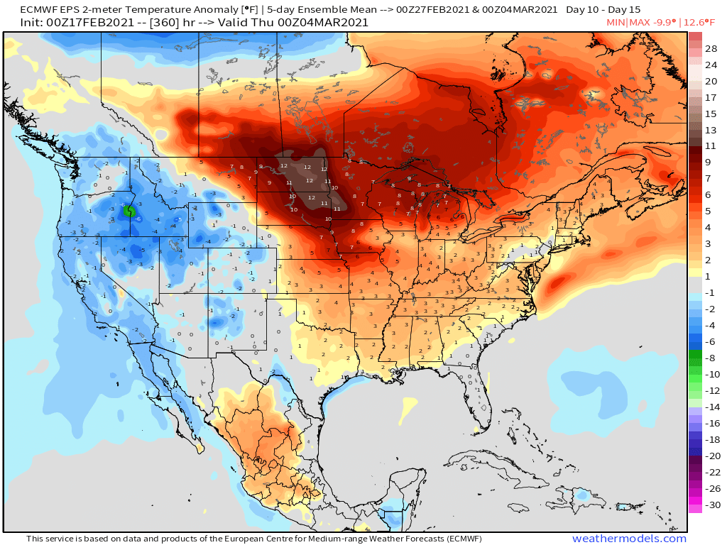 2-17-21 Early AM Energy Report: Mild pattern on the horizon as cold exits this weekend/early next week. B.