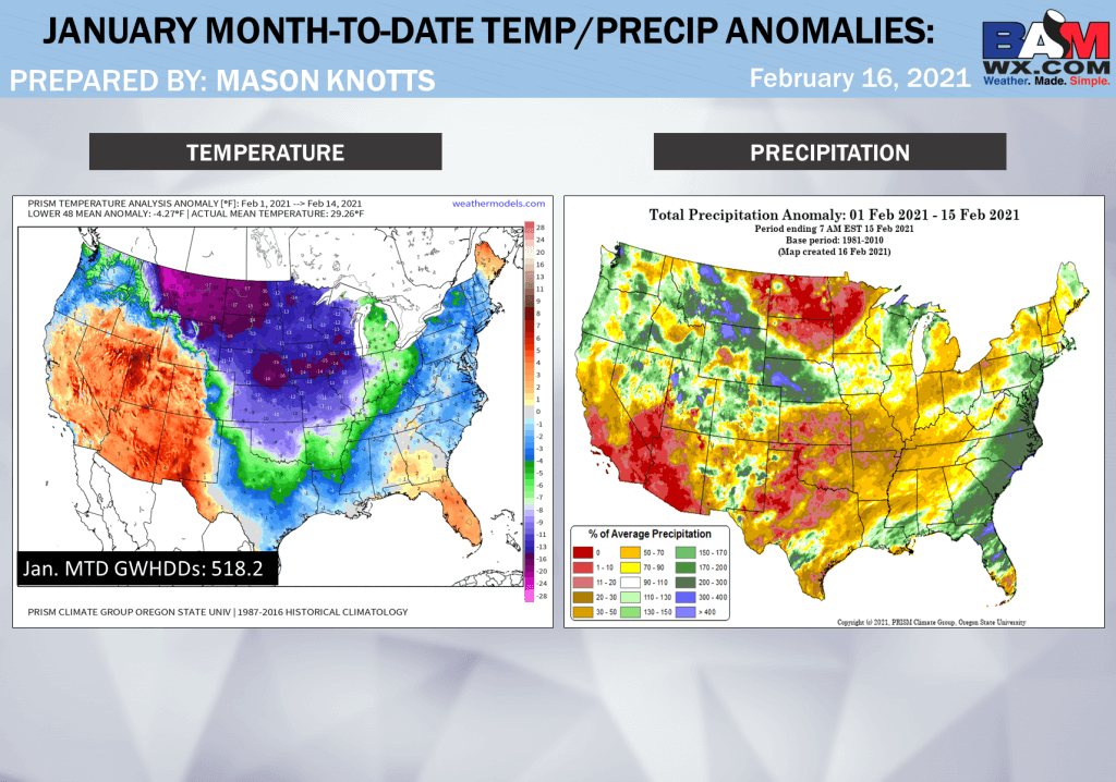 2-16-21 Long Range: Notable cold lingers this week, milder next week. Quick onset of spring possible in March. B.