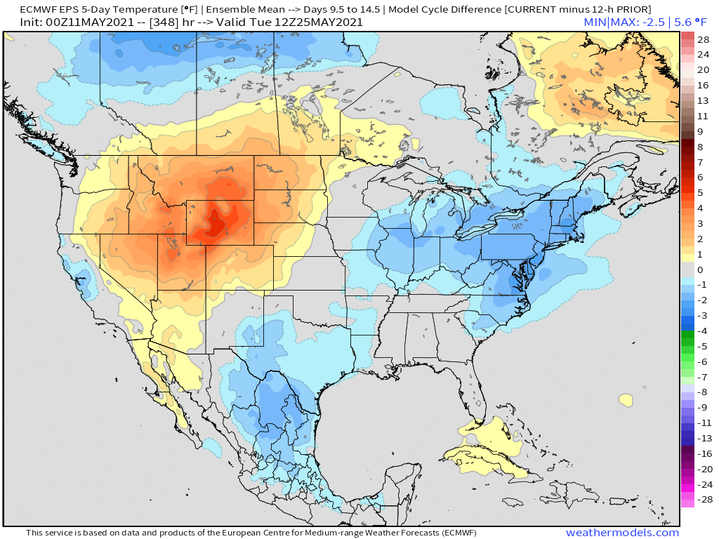 5-11-21 Early AM Energy Report: Warmer air spreads eastward next week, but cooler air lingers in the short-term. B.