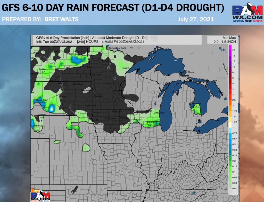 7-27-21 AM Ag Weather Report: Cooler trends east… GFS/Euro quite dry aside from late week storm cluster. B.
