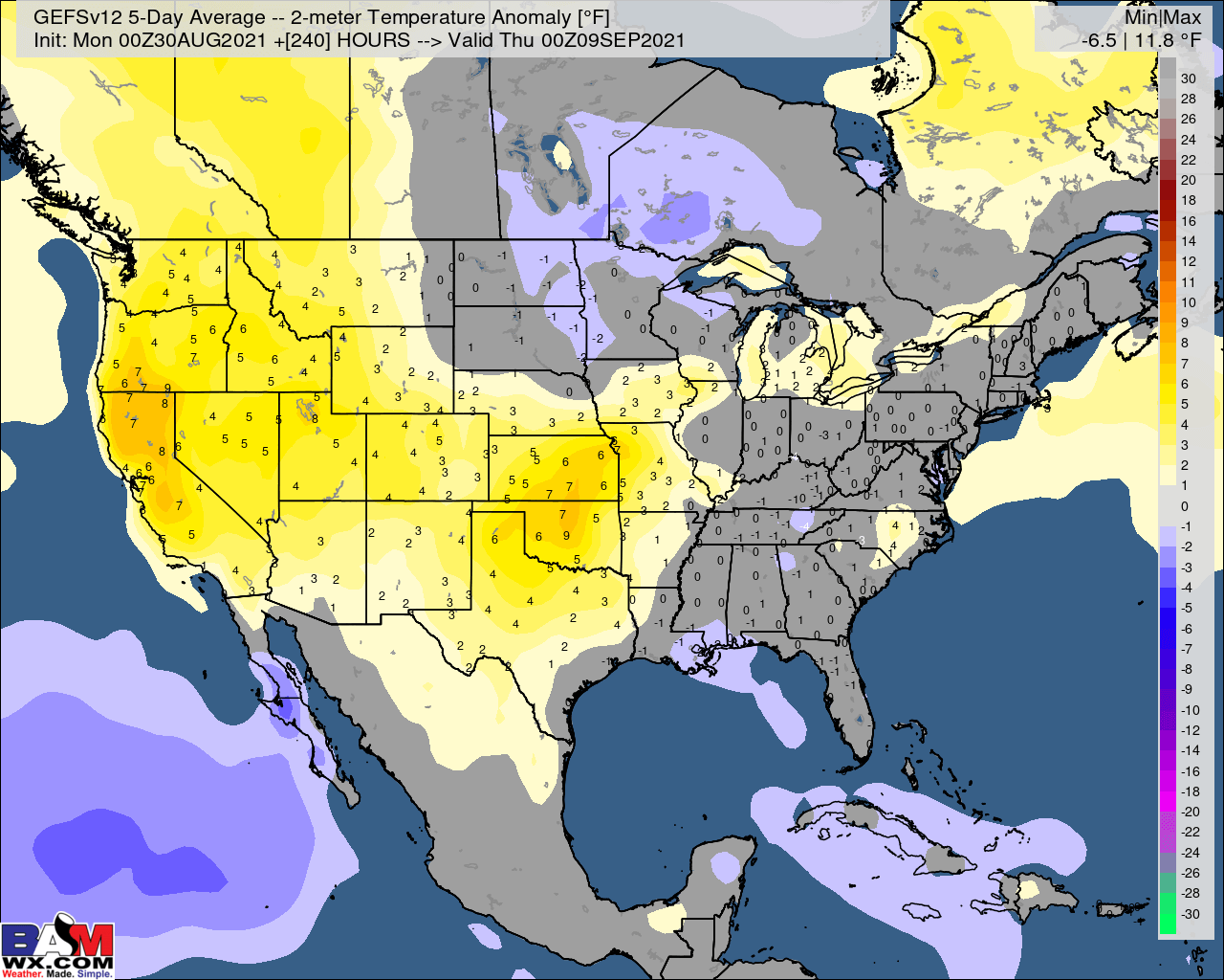 8-30-21 Early AM Energy Report: Cooler trends east on weekend data. Latest pattern thoughts here. B.