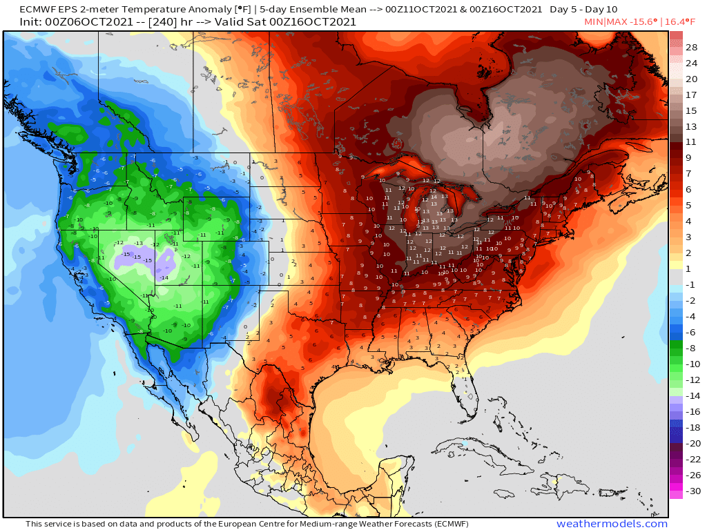 10-6-21 Early AM Energy Report: Notable warmth continues through mid-October. Moderation *south* late week 2 possible. B.