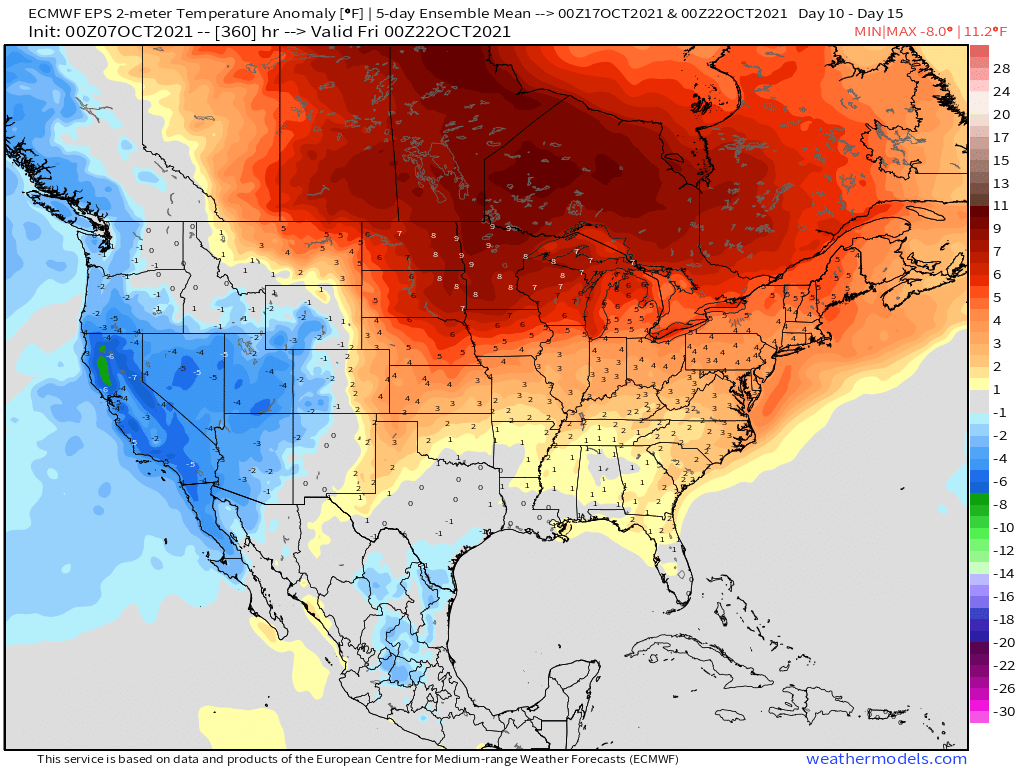 10-8-21 Early AM Energy Report: Warmth continues to be the theme the next two weeks… keeping an eye on late October. B.