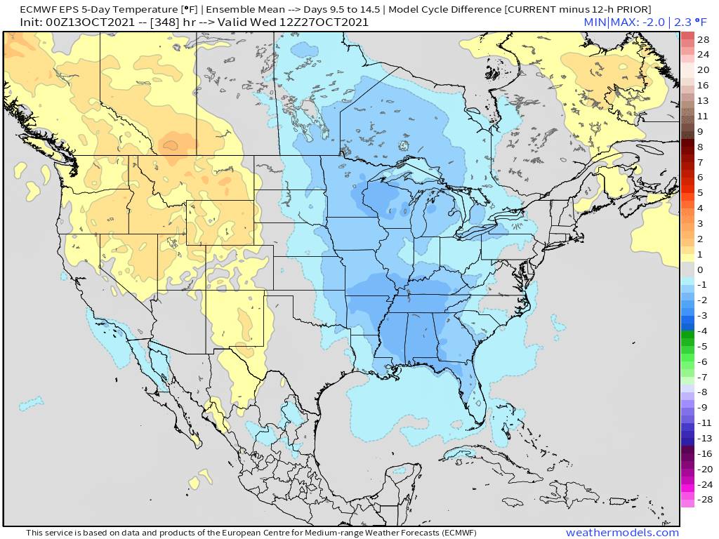 10-13-21 Early AM Energy Report: Fall front sweeps this weekend. Latest details on late October pattern evolution. B.