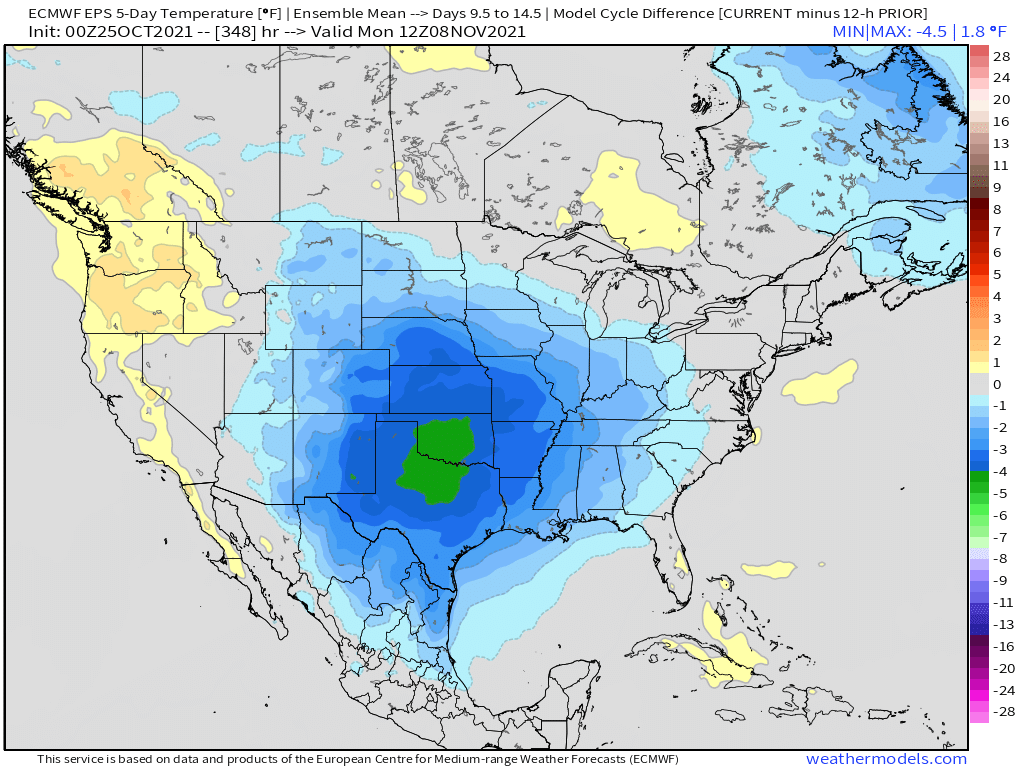 10-25-21 Early AM Energy Report: Notable colder trends on weekend EPS… GEFS remains a bit warmer. Breaking down the differences here. B.
